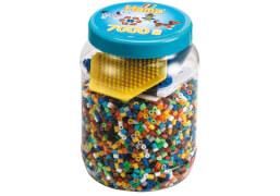 HAMA Dose blau mit 2 Platten (kleines Sechseck, kleiner Hund) und 7.000 Perlen